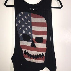 America flag skull tank